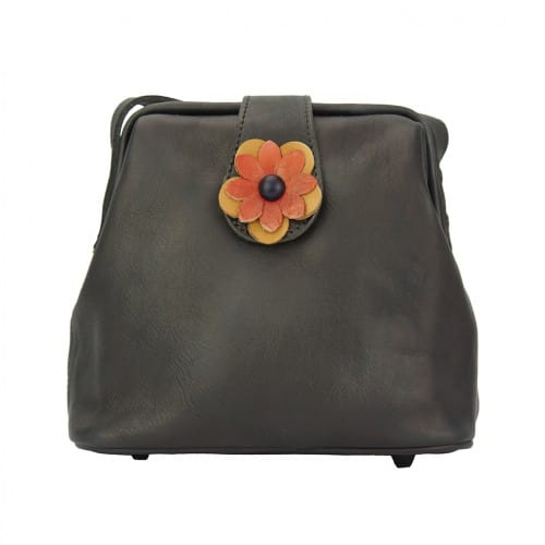 buy italian Cross body bag with flower Wanda Colour ebony for women