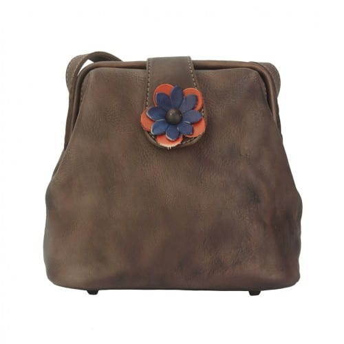 buy italian Cross body bag with flower Wanda Colour Dark brown for women