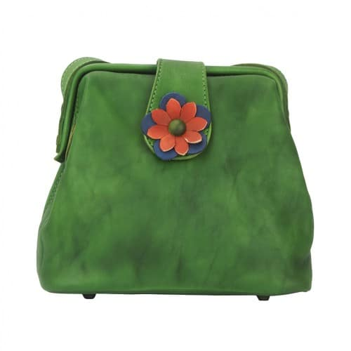 buy italian Cross body bag with flower Wanda Colour Dark green womans