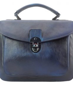 dark blue handbag in vintage retro genuine leather monica women
