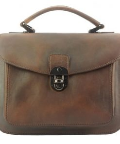 brown handbag in vintage retro genuine leather monica woman