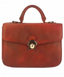 dark red italian bag in vintage leather for woman