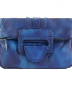 dark blue multipurpose handbag in vintage genuine leather Danae woman