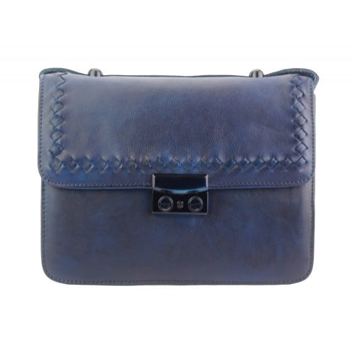 dark blue cross body flap bag in vintage genuine woven leather jamil for woman