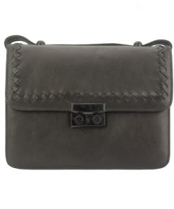 dark grey cross body flap bag in vintage genuine woven leather jamil woman