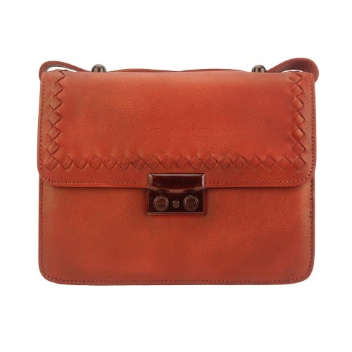 light red cross body flap bag in vintage genuine woven leather jamil woman