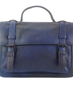 dark blue one handle bag of genuine vintage leather Milton women