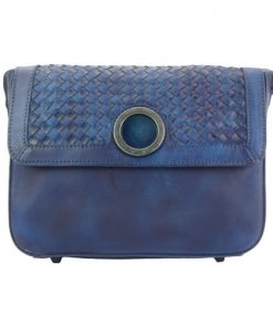 dark blue cross body flap bag in vintage genuine woven leather joelle women