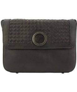 black cross body flap bag in vintage genuine woven leather joelle women