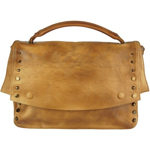 tan color messenger Alipia with rivets for women
