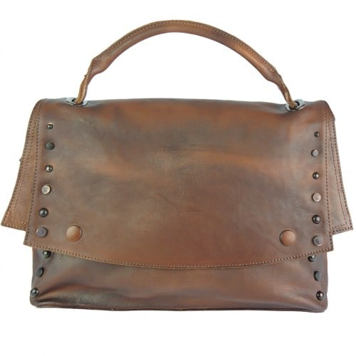 brown color messenger Alipia with rivets for women
