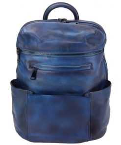 dark blue backpack in vintage calfskin Salvatore mens