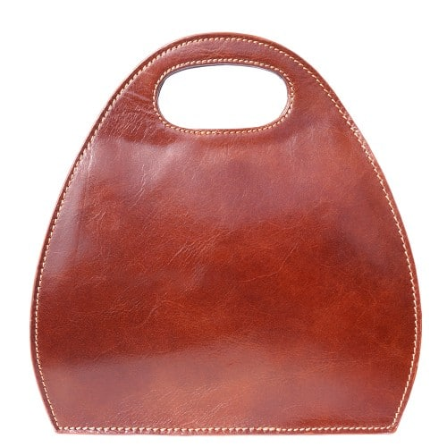Semi oval bag Diletta of genuine leather Colour brown for women