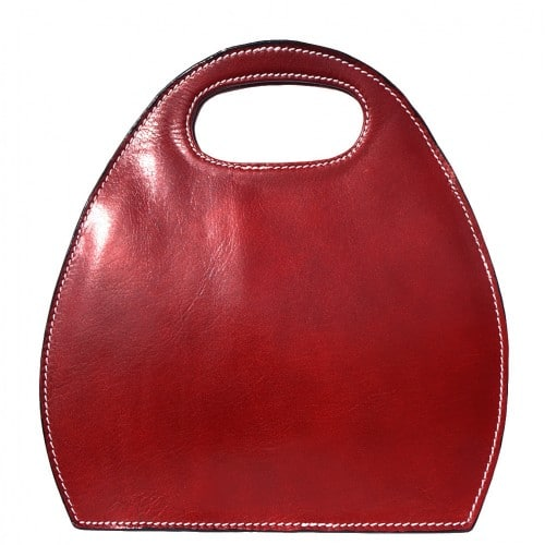 Semi oval bag Diletta of genuine leather Colour light red for women