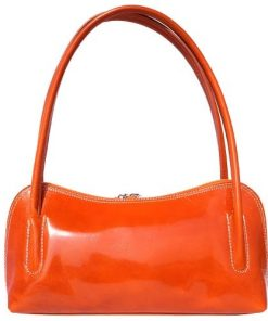 Classic shoulder bag in genuine shiny leather Gigliola colour orange photo for women