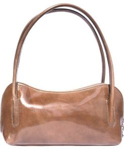Classic shoulder bag in genuine shiny leather Gigliola colour tan for women
