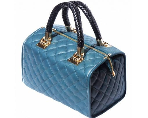 turquoise bag in quilted real leather for woman