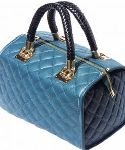 turquoise bag in quilted natural leather for woman