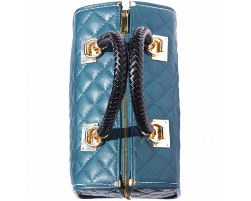 turquoise bag in quilted genuine leather for woman