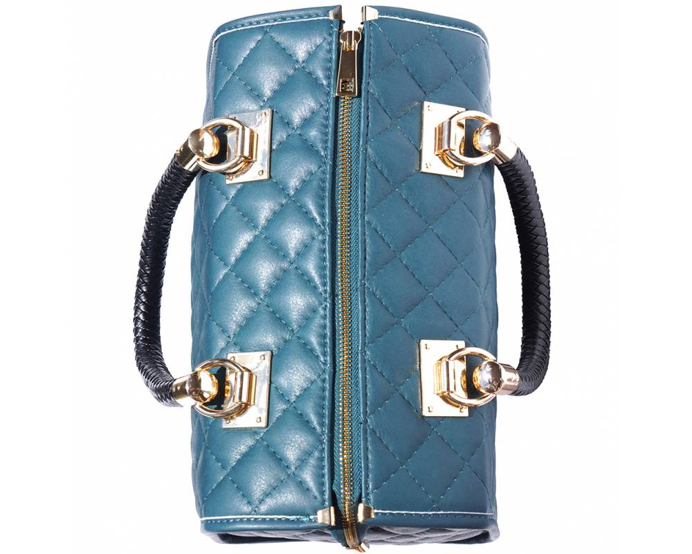 turquoise bag in quilted leather for woman