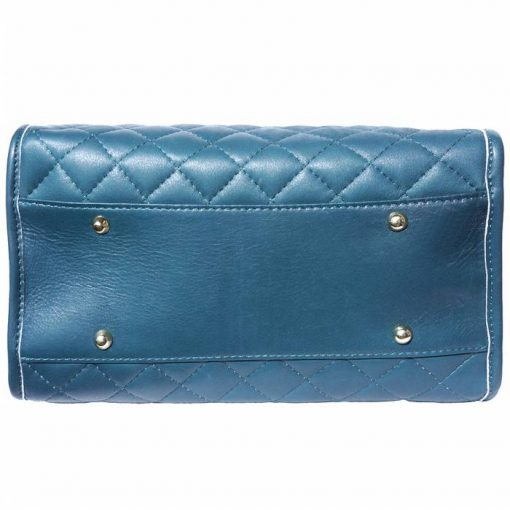 dark turquoise bag in quilted leather for woman