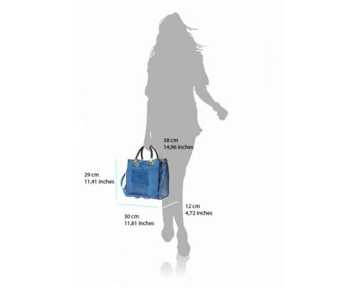 electric blue bag in suede real leather crocodile style Maaicke for women
