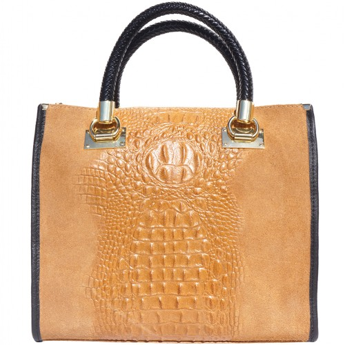 HandBag Fabiana in printed crocodile style genuine leather Colour tan for women