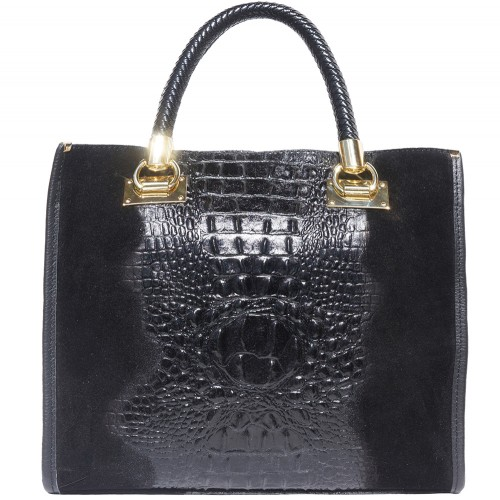 HandBag Fabiana in printed crocodile style genuine leather Colour black for women