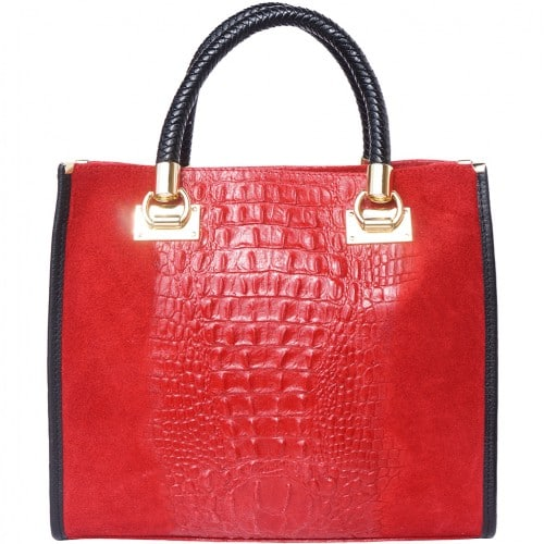 HandBag Fabiana in printed crocodile style genuine leather Colour red for women