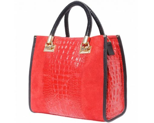 red bag in suede real leather crocodile style Maaicke for women