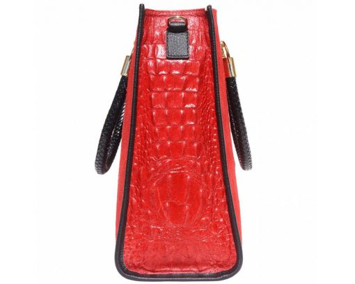 red bag in suede soft leather crocodile style Maaicke for women