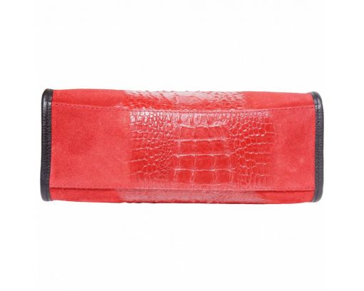 red bag in suede genuine leather crocodile style Maaicke for women