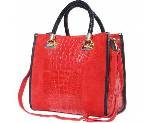 red bag in suede leather crocodile style Maaicke for women