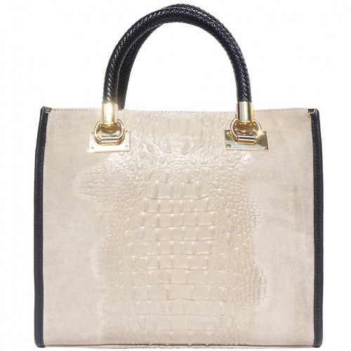 HandBag Fabiana in printed crocodile style genuine leather Colour light taupe for women