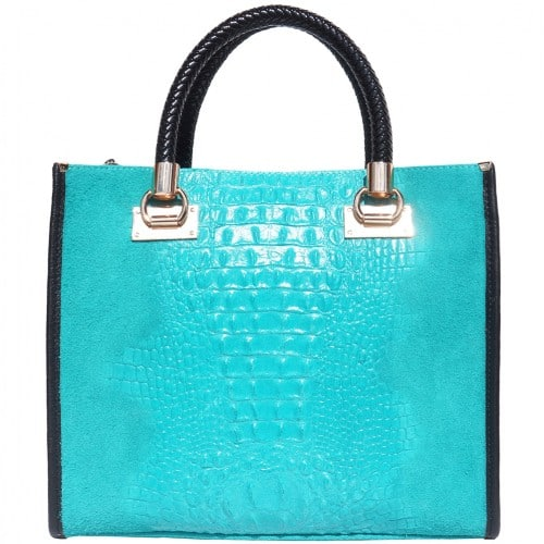 HandBag Fabiana in printed crocodile style genuine leather Colour Turquoise for women