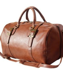 Genuine leather travel bag with front straps Fulvio in genuine leather brown for women