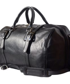 Genuine leather travel bag with front straps Fulvio in genuine leather Colour black for women