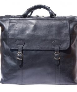 Unisex travel bag in hard cow genuine leather Eugenio Colour black from italy