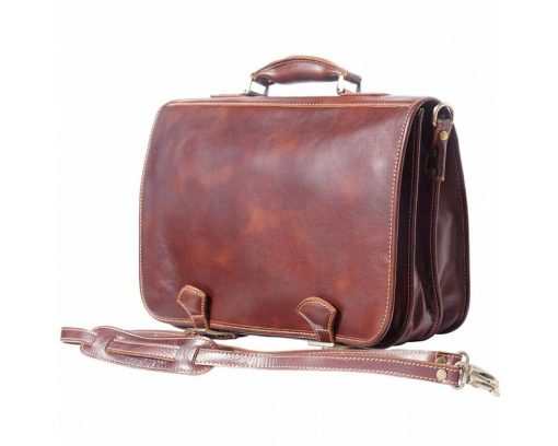 buy brown briefcase in natural leather Ursula from italy