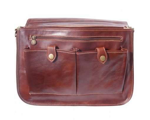 brown briefcase in genuine leather Ursula from italy