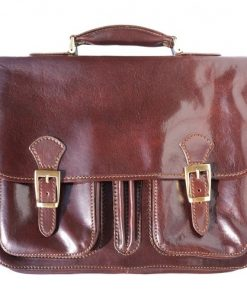 genuine Leather briefcase Paolo Colour dark brown for men