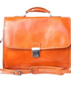 Leather briefcase Orlando with laptop compartment inside Colour tan for men