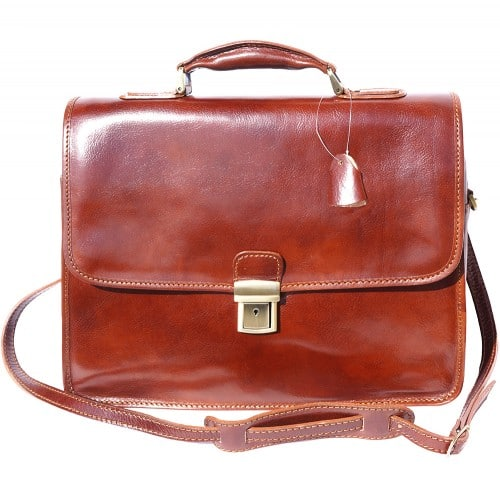 Leather briefcase Orlando with laptop compartment inside Colour brown for men