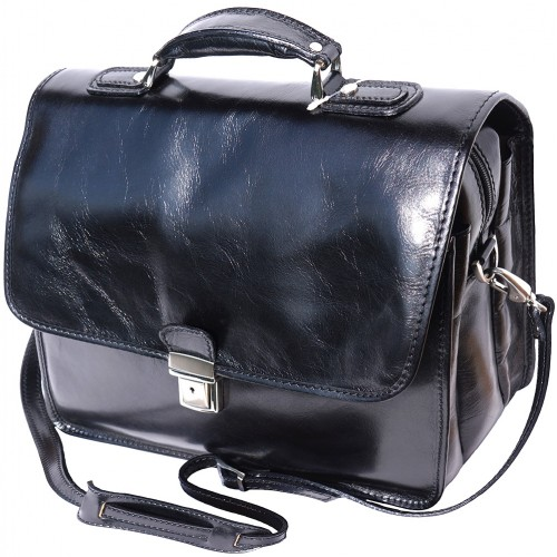 Leather briefcase Orlando with laptop compartment inside Colour Black for men