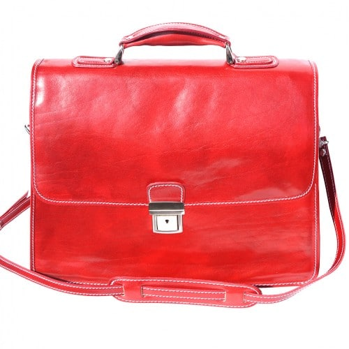 Leather briefcase Orlando with laptop compartment inside Colour light red for women