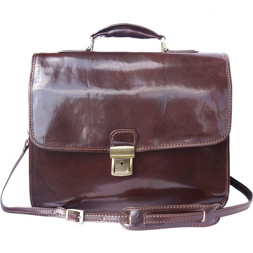 Leather briefcase Orlando with laptop compartment inside Colour dark brown for men