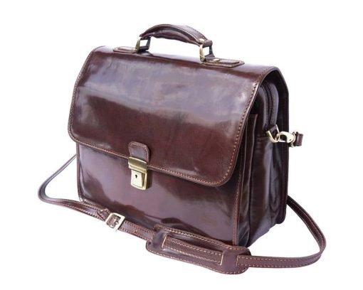 dark brown briefcase in real leather Antoan man
