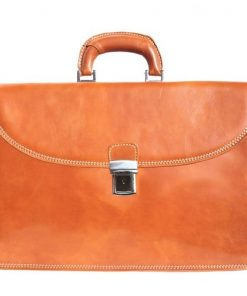 Genuine leather briefcase business bag Osvaldo Colour tan for men