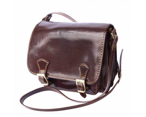 brown briefcase in real leather Costel women