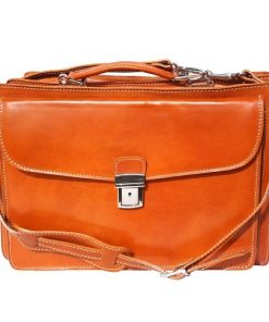 Genuine leather briefcase business bag Oreste colour light brown for men